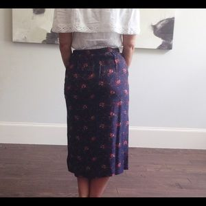 Carole Little Skirts - Vintage Carole Little Silk Floral Midi Skirt B216